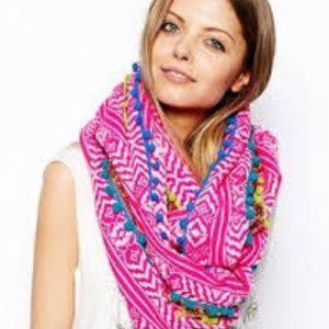 ASOS Pink Pom Pom Trim Infinity scarf In Geo-Triba